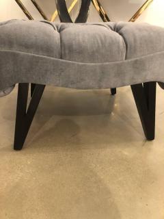 Grosfeld House Hollywood Regency Grosfeld House Tufted Gray Mohair Ebonized Wood Slipper Chair - 612239