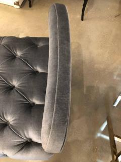 Grosfeld House Hollywood Regency Grosfeld House Tufted Gray Mohair Ebonized Wood Slipper Chair - 612241