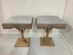 Grosfeld House Pair of Grosfeld House Plume Marble Top Side Tables - 1150950