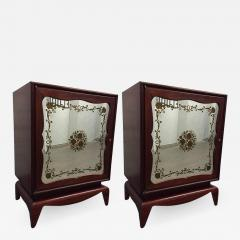 Grosfeld House Pair of Mahogany Grosfeld House Cabinets with Etched Mirrored Panels - 1162800