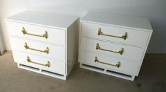 Grosfeld House Pr of Signed Hollywood Regency White Lacquered w Brass Chest of Drawers - 962902
