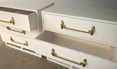 Grosfeld House Pr of Signed Hollywood Regency White Lacquered w Brass Chest of Drawers - 962905
