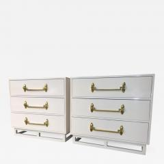 Grosfeld House Pr of Signed Hollywood Regency White Lacquered w Brass Chest of Drawers - 964346