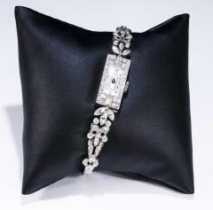 Gubelin 1920s Art Deco Platinum Diamond Set Gubelin Marquis Floral Motif Bracelet Watch - 1142798