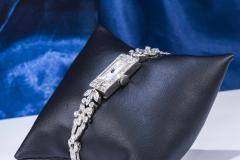 Gubelin 1920s Art Deco Platinum Diamond Set Gubelin Marquis Floral Motif Bracelet Watch - 1142799