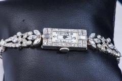 Gubelin 1920s Art Deco Platinum Diamond Set Gubelin Marquis Floral Motif Bracelet Watch - 1142800