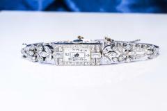 Gubelin 1920s Art Deco Platinum Diamond Set Gubelin Marquis Floral Motif Bracelet Watch - 1142801
