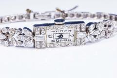 Gubelin 1920s Art Deco Platinum Diamond Set Gubelin Marquis Floral Motif Bracelet Watch - 1142802