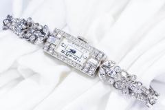 Gubelin 1920s Art Deco Platinum Diamond Set Gubelin Marquis Floral Motif Bracelet Watch - 1142803