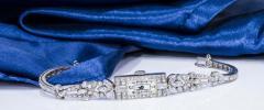 Gubelin 1920s Art Deco Platinum Diamond Set Gubelin Marquis Floral Motif Bracelet Watch - 1142809