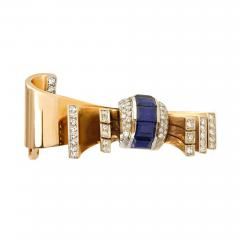 Gubelin 1940s G belin Gold Sapphire and Diamond Stylized Bow Brooch - 1172829