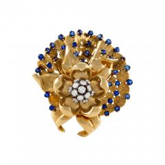 Gubelin G belin Swiss Mid 20th Century Diamond Sapphire and Gold Flower Brooch - 718873