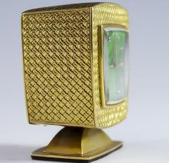 Gubelin Vintage Gubelin 18kt Yellow Gold Diamond Malachite Dial Square Clock - 524586