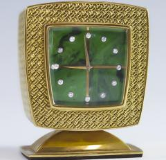 Gubelin Vintage Gubelin 18kt Yellow Gold Diamond Malachite Dial Square Clock - 524587