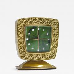 Gubelin Vintage Gubelin 18kt Yellow Gold Diamond Malachite Dial Square Clock - 581152