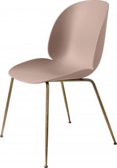 Gubi GamFratesi Beetle Dining Chair with Antique Brass Conic Base - 1752817