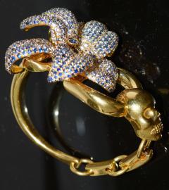 Gucci 18K Gucci Flower Skull Bracelet - 339636