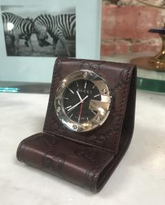 Gucci GUCCI LIMITED EDITION BROWN TRAVEL DESK ALARM CLOCK WATCH Italy 1980s - 1446912