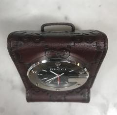Gucci GUCCI LIMITED EDITION BROWN TRAVEL DESK ALARM CLOCK WATCH Italy 1980s - 1446918