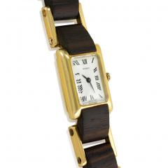Gucci Gucci 1970s Gold and Wood Tank Wrist Watch - 1172505