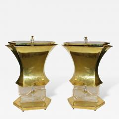 Gucci Gucci 1980s Italian Pair of Modern Gold Brass and Glass Lamps - 339813