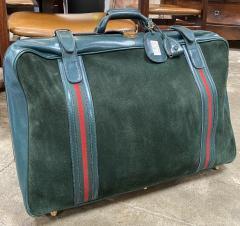 Gucci Gucci Vintage Blue Suede Medium Suitcase Travel Bag - 1527413