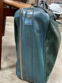 Gucci Gucci Vintage Blue Suede Medium Suitcase Travel Bag - 1527414