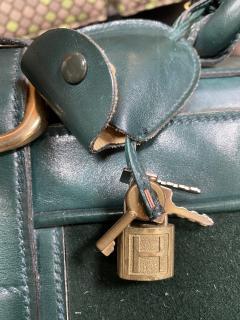 Gucci Gucci Vintage Blue Suede Medium Suitcase Travel Bag - 1527423