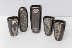 Gustavsberg Collection of Gustavsberg Argenta Ceramics in Black Glaze with Silver Inlay - 397524