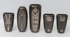 Gustavsberg Collection of Gustavsberg Argenta Ceramics in Black Glaze with Silver Inlay - 397525