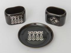 Gustavsberg Collection of Gustavsberg Argenta Ceramics in Black Glaze with Silver Inlay - 397528
