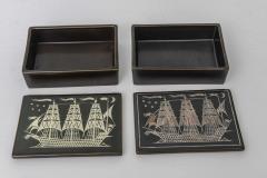 Gustavsberg Collection of Gustavsberg Argenta Ceramics in Black Glaze with Silver Inlay - 397529