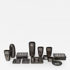Gustavsberg Collection of Gustavsberg Argenta Ceramics in Black Glaze with Silver Inlay - 404422