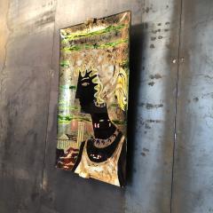 Haeti Reverse Painting on Curved Glass by Haeti for Santambrogio De Berti 1950 - 922997
