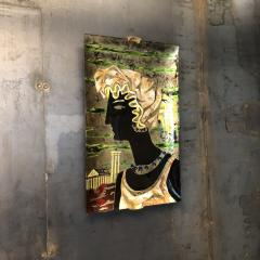 Haeti Reverse Painting on Curved Glass by Haeti for Santambrogio De Berti 1950 - 923002