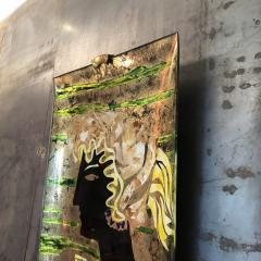 Haeti Reverse Painting on Curved Glass by Haeti for Santambrogio De Berti 1950 - 923006