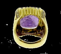 Hammerman Brothers Hammerman Intaglio Amethyst Gold Ring - 136563