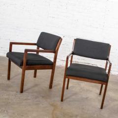 Haworth Modern pair black walnut tone wood accent or dining armchairs by haworth - 1843746