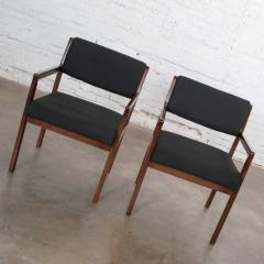 Haworth Modern pair black walnut tone wood accent or dining armchairs by haworth - 1843750