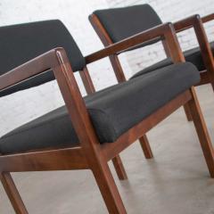 Haworth Modern pair black walnut tone wood accent or dining armchairs by haworth - 1843751