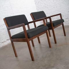 Haworth Modern pair black walnut tone wood accent or dining armchairs by haworth - 1843754