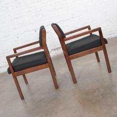 Haworth Modern pair black walnut tone wood accent or dining armchairs by haworth - 1843773