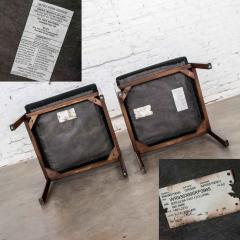 Haworth Modern pair black walnut tone wood accent or dining armchairs by haworth - 1843776