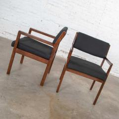 Haworth Modern pair black walnut tone wood accent or dining armchairs by haworth - 1843777