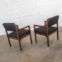 Haworth Modern pair black walnut tone wood accent or dining armchairs by haworth - 1843779