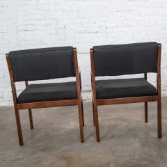 Haworth Modern pair black walnut tone wood accent or dining armchairs by haworth - 1843780