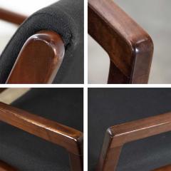 Haworth Modern pair black walnut tone wood accent or dining armchairs by haworth - 1843804