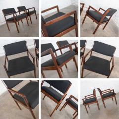 Haworth Modern pair black walnut tone wood accent or dining armchairs by haworth - 1843807