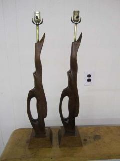Heifetz Pair of Abstract Sculptural Walnut Lamps Mid century Danish Modern - 1768513
