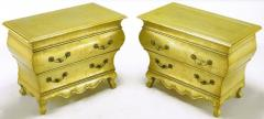 Henredon Pair of Henredon Gold Toned Silver Leaf Bombe Two Drawer Commodes - 278491